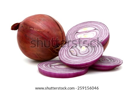one red onion and slices cut on white background - stock photo