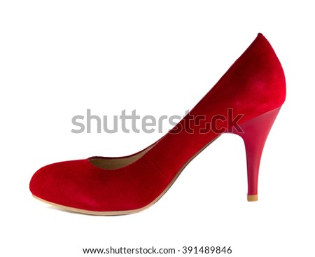 One red shoe standing isolated on white background