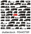 One red truck pinpointed among many black cargo carrying vehicles - color raster illustration set - stock vector