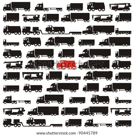 One red truck pinpointed among many black cargo carrying vehicles - color raster illustration set - stock photo