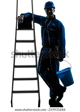 one  repairman worker silhouette in studio on white background - stock photo
