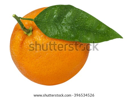 one ripe orange with leaf and drop of water isolated on white background with clipping path - stock photo
