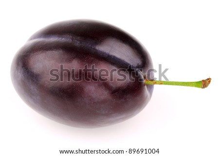 One ripe plum on a white background - stock photo