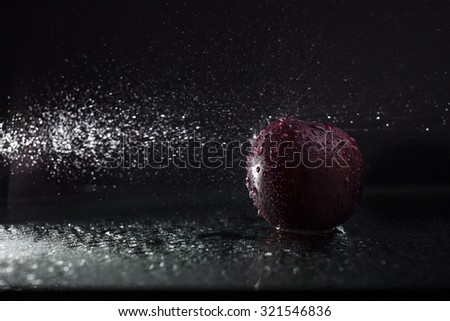 One ripe tasty beautiful seasoning fruit berry of purple wet plum with water spray lying in studio on black background, horizontal picture