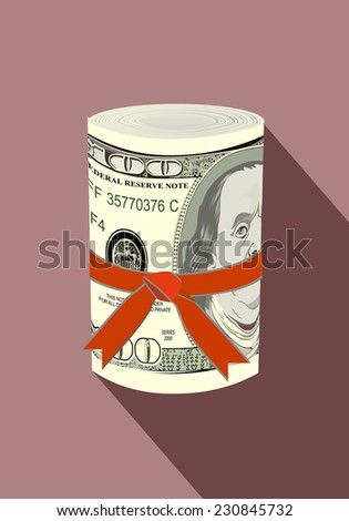 One roll from dollars in a red ribbon with a gift bow. - stock photo