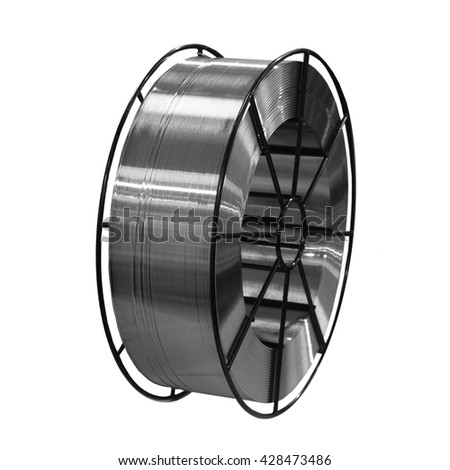 one roll of weld wire isolated on white - stock photo