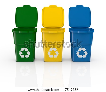 one row of three recycling bins open, in different colours (3d render) - stock photo