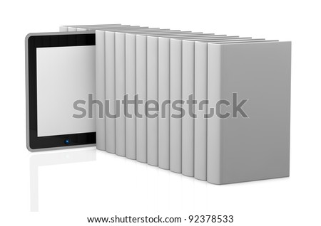 one row of white books with a tablet pc (3d render) - stock photo