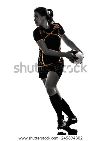 one rugby woman player in silhouette isolated on white backround - stock photo