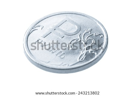 One Russian ruble coin isolated on white background - stock photo