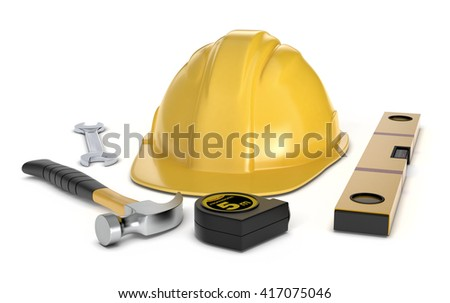 one safety helmet and work tools on white background (3d render)