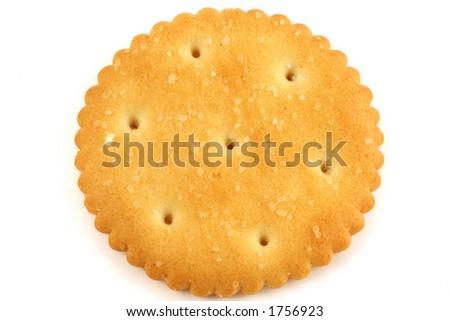 one salty cracker flat on white - stock photo