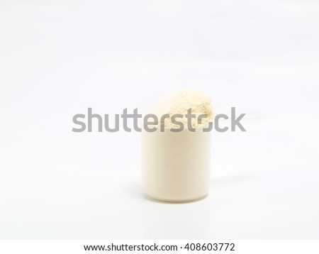 One scoop of isolate whey protein on white background - stock photo