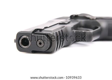 one semiauto black gun isolated on white - stock photo