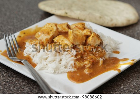 one serving of a spicy chicken tikka marsala over basmati rice - stock photo