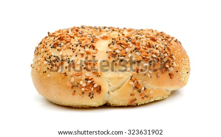 one sesame bagel on white background