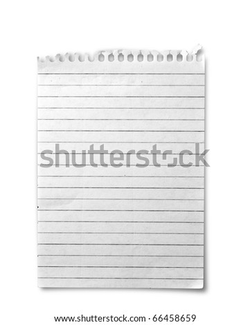 One sheet from notebook on white background - stock photo