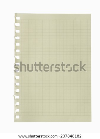 One sheet of lined paper torn .isolated ,Clipping path  - stock photo
