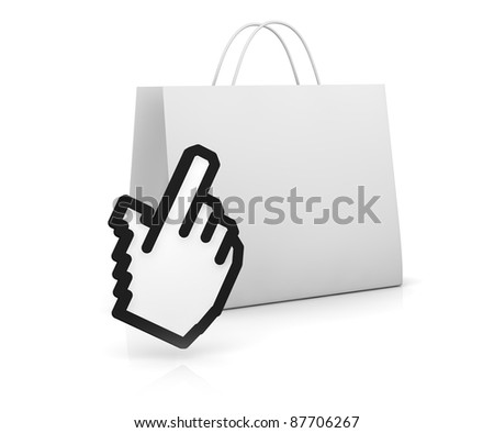 one shopping bag with the hand cursor (3d render) - stock photo
