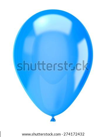 One Single Blue Balloon Isolated on White Background Illustration - stock photo