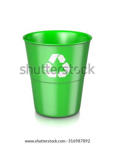 One Single Plastic Green Bin with Recycle Sign Isolated on White Background 3D Illustration