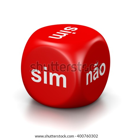 One Single Red Dice with Yes or No Portuguese Text on Faces on White Background 3D Illustration - stock photo