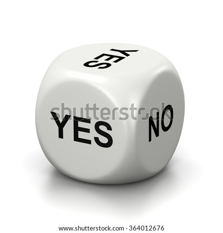 One Single White Dice with Yes or No English Text on Faces on White Background 3D Illustration - stock photo