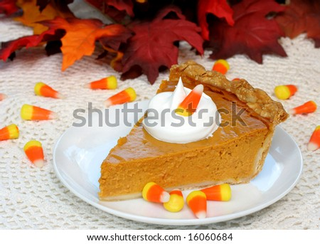 One slice of pumpkin pie in fall holiday  setting. - stock photo