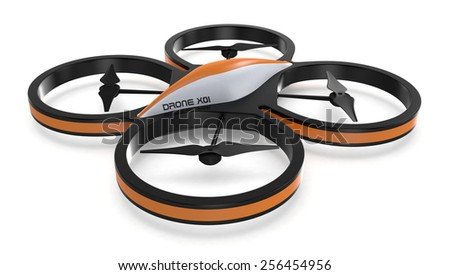 one small drone on white background (3d render) - stock photo