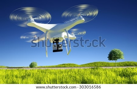 one small drone with a camera on a green field.