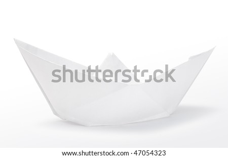 One small paper ship on white background