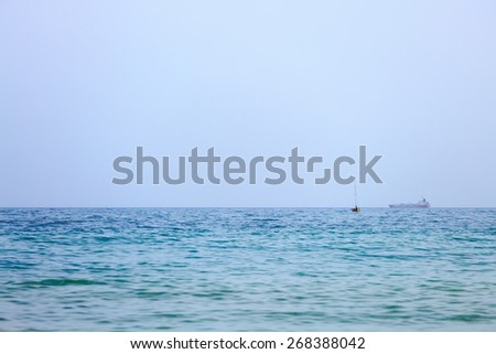 One small yacht without sail on Mediterranean Sea - stock photo