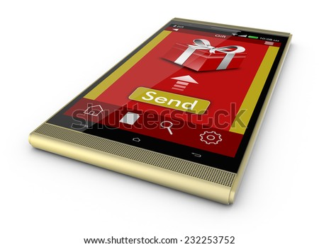 One smartphone with an app for online gifts (3d render) - stock photo