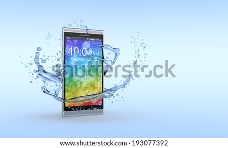 one smartphone with water splashes around it, concept of waterproof product (3d render) - stock photo