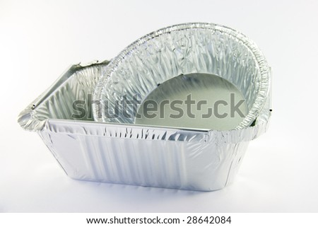 One square and one round catering trays - stock photo