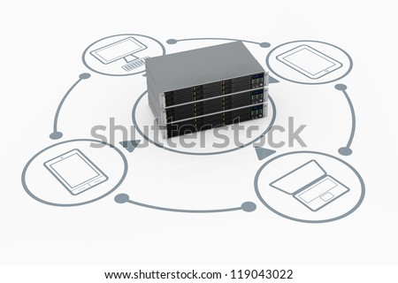 one stack of server rack connected to several electronic devices (3d render) - stock photo