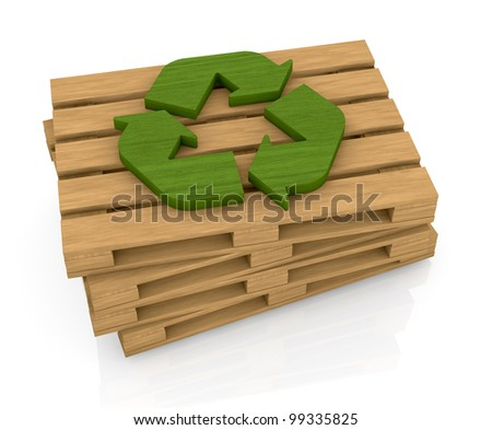 one stack of wooden pallets with a recycling symbol on top, a concept of  transport and packaging eco sustainable (3d render)