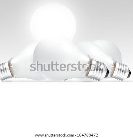 One standing glowing light bulb with broken light bulbs - stock photo