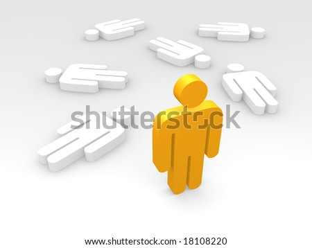 one standing orange male pictogram amongst a few reclined white ones - stock photo