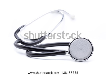 one stethoscope, measuring instrument, used by the medical