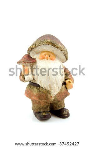 one stone autumn statue doll of gnome isolated on white background - stock photo