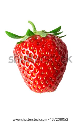 One strawberry close-up. Isolated on white background. - stock photo