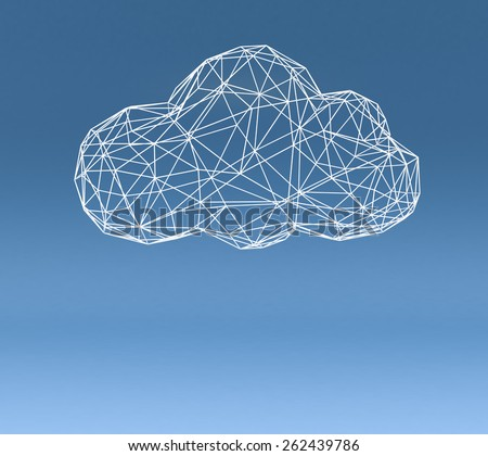 one stylized cloud made with the technique of wireframe modeling on blue background, empty space at the bottom (3d render) - stock photo