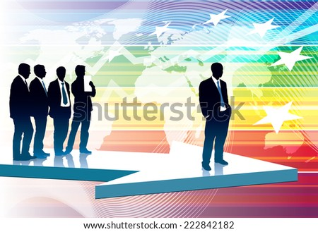 One successful businessman in front of group of his colleagues in suits. - stock photo