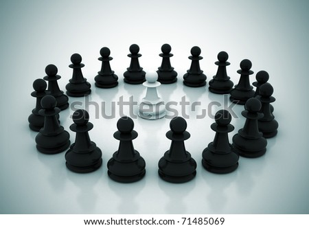 One surrounded chess piece - stock photo