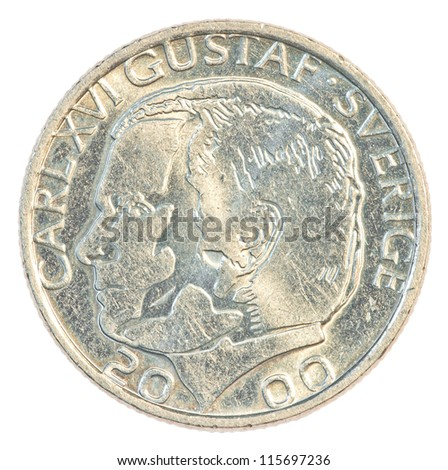 One Swedish Kronor coin isolated on white background - stock photo