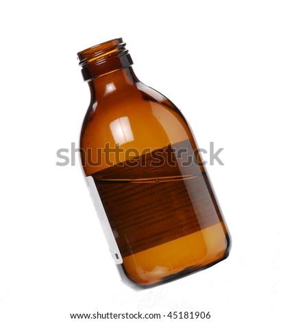 One Syrup bottle on white background. - stock photo