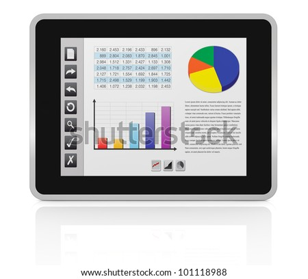 one tablet pc with a buttons interface, that shows a spreadsheet and charts (3d render)