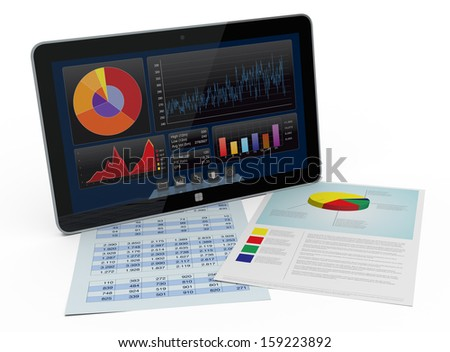 one tablet pc with a financial software and paper worksheets (3d render) - stock photo
