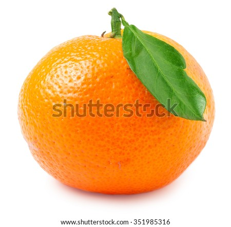 one tangerine with leaf on a white background. - stock photo